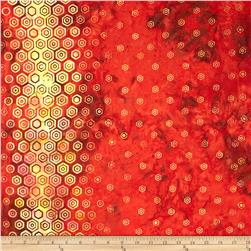 Bali Batiks Handpaints Hexagon Double Border Paprika