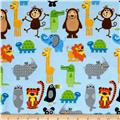 Comfy  Flannel Animal Toss Allover Blue