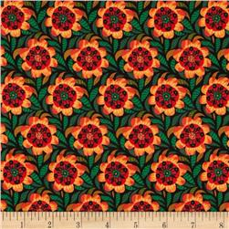 Geometric Flowers Black/Orange/Green