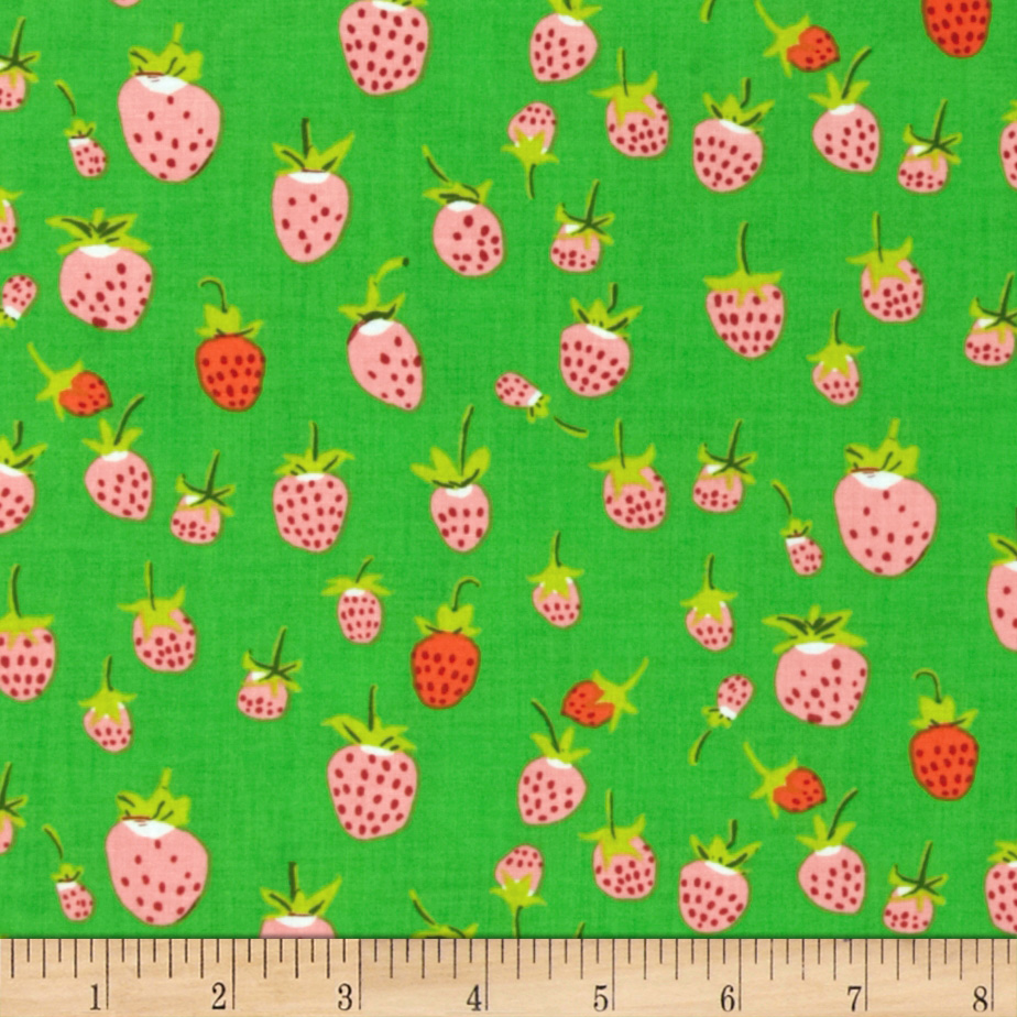 Heather Ross Briar Rose Strawberry Pink/Green Fabric