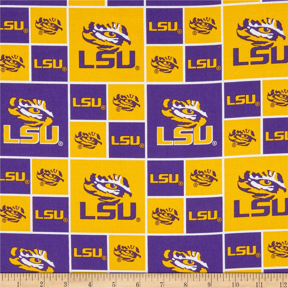 Collegiate Cotton Broadcloth Louisiana State University Tigers Fabric By The Yard