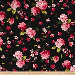 Cosmo Spring Blooms Cotton Linen Blend Black