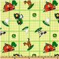 John Deere Nursery Farm Animal Toss Plaid Green