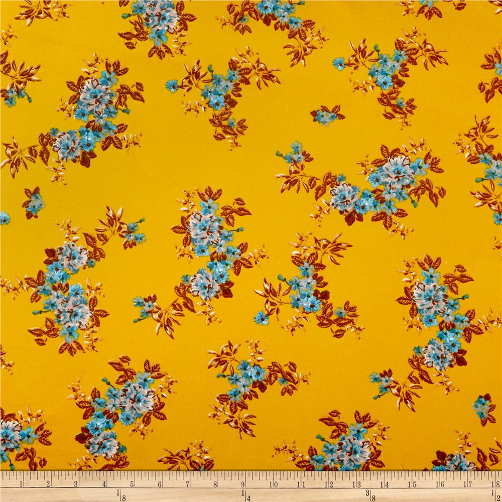 04333cc542b Double Brushed Poly Jersey Knit Tropical Flowers Gold/Blue ...