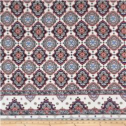 Rayon Challis Double Border Medallion Ivory/Poppy