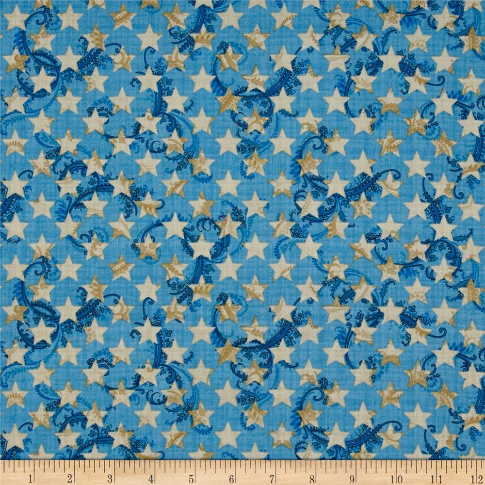 Patriotic Primer Stars Light Blue