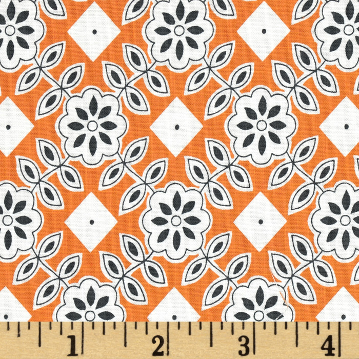 Downtown Floral Diamond Orange Fabric