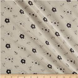 Italian Designer Cotton Silk Batiste Floral Tan/Black/White