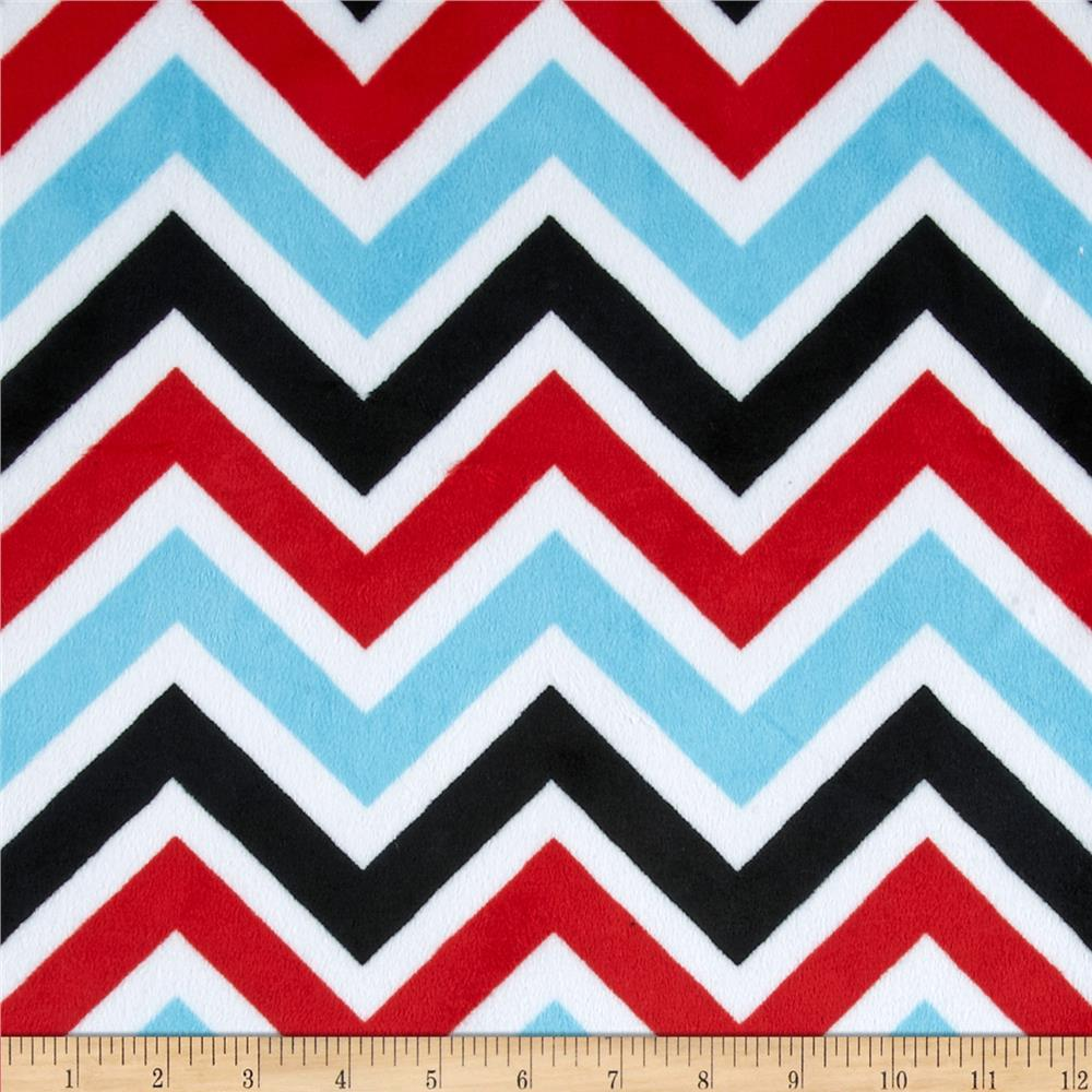 Shannon Minky Cuddle Zig Zag Turquoise/Red/Black - Discount ...