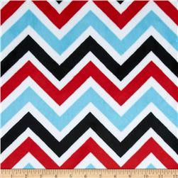 Minky Cuddle Zig Zag Turquoise/Red/Black Fabric