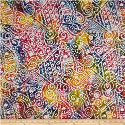 Indian Batik Crinkle Cotton Print Ethnic Patchwork Bright Multi