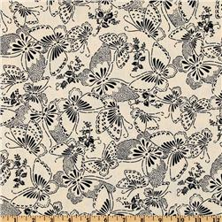 110'' Wide Quilt Backing Butterfly Cream/Black Fabric