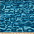 Laurel Burch Sea Spirits Metallic Waves Aqua