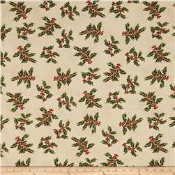 Good Tidings Holly Cream/Gold