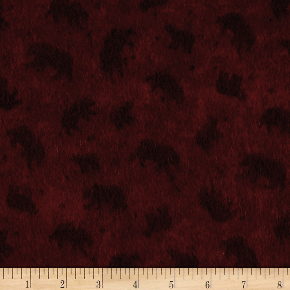 Lodge Life Flannel Bears Burgundy Fabric by Red Rooster in USA