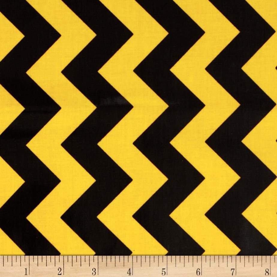 Riley Blake Laminate Medium Chevron Black/Gold