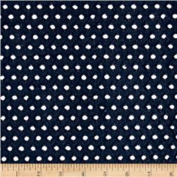 Cotton Eyelet Allover Dots Navy