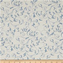 "110"" Wide Quilt Back Filigree Cream/Blue"