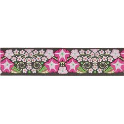 "1 1/2"" Jane Sassaman Morning Glory Ribbon Black/Pink"
