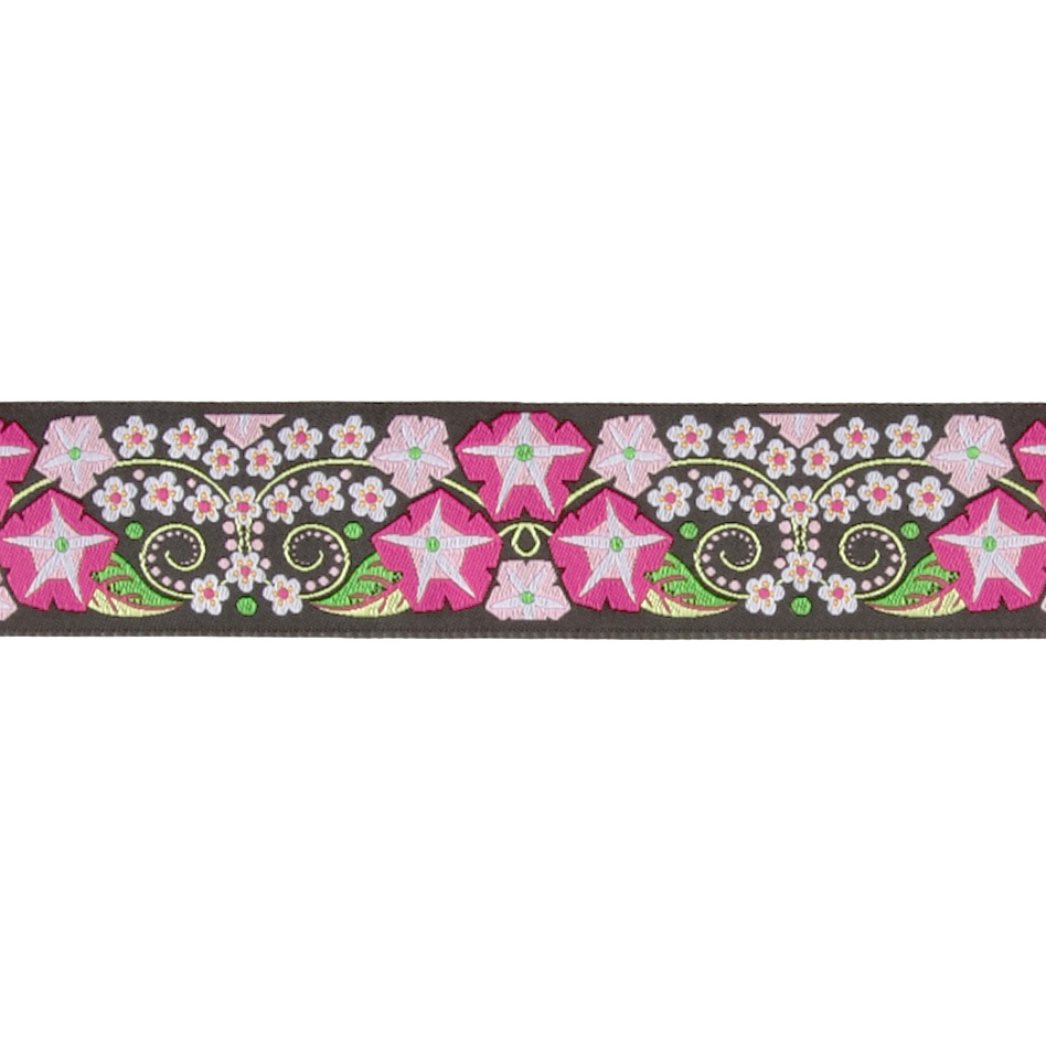 1 1/2'' Jane Sassaman Morning Glory Ribbon Black/Pink