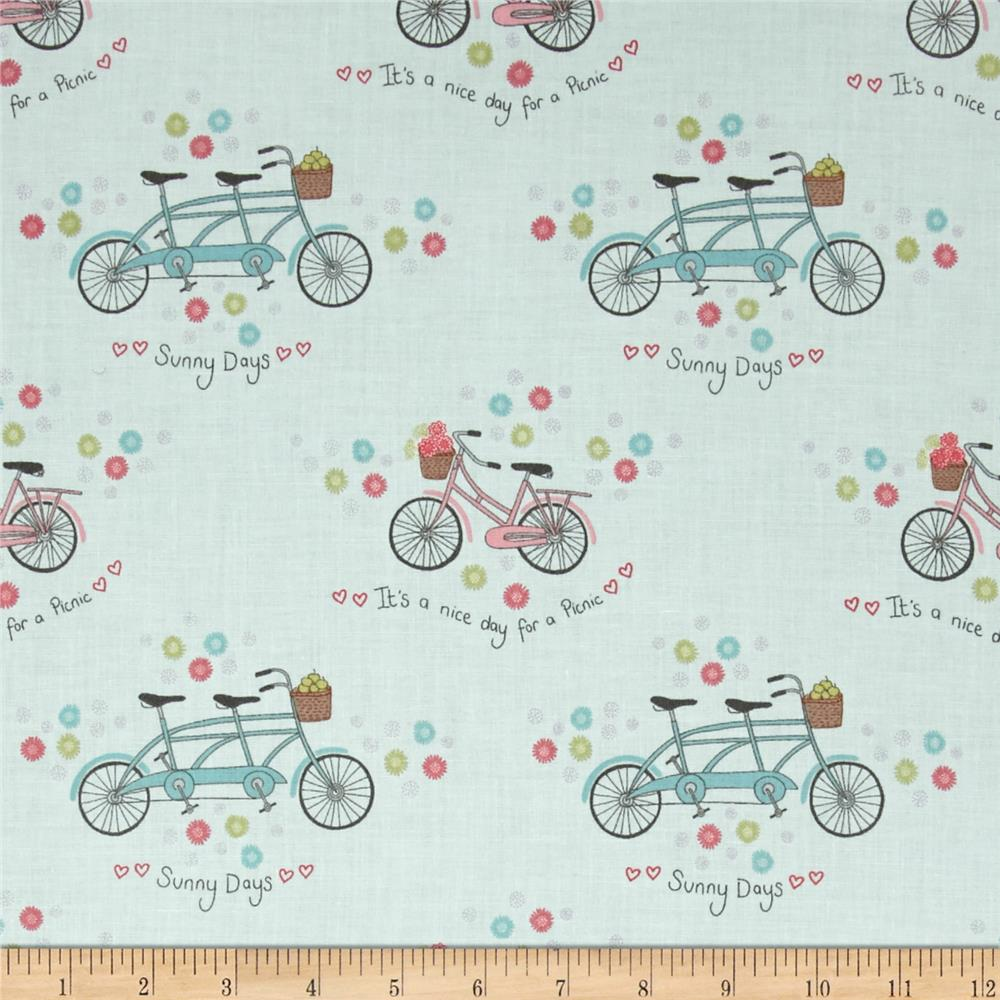 Picnic In The Park Bicycles & Flowers Aqua