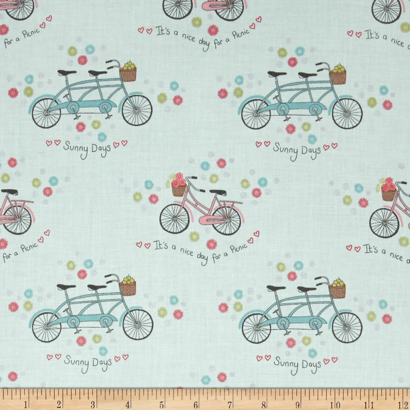 Picnic In The Park Bicycles & Flowers Aqua Fabric by E. E. Schenck in USA