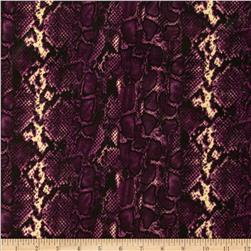 Stretch ITY Jersey Knit Snakeskin Purple
