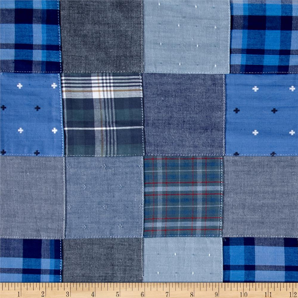 Kaufman Plaid Solid Dobby Patchwork Blue