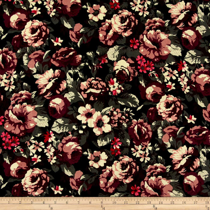 21 Wale Printed Corduroy Romantic Rose Fabric
