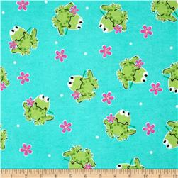 Comfy Flannel Frogs & Flowers Teal