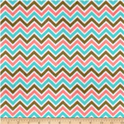 Minky Cuddle Classic Mini Zig Zag Coral/Cappuccino/Breeze Fabric