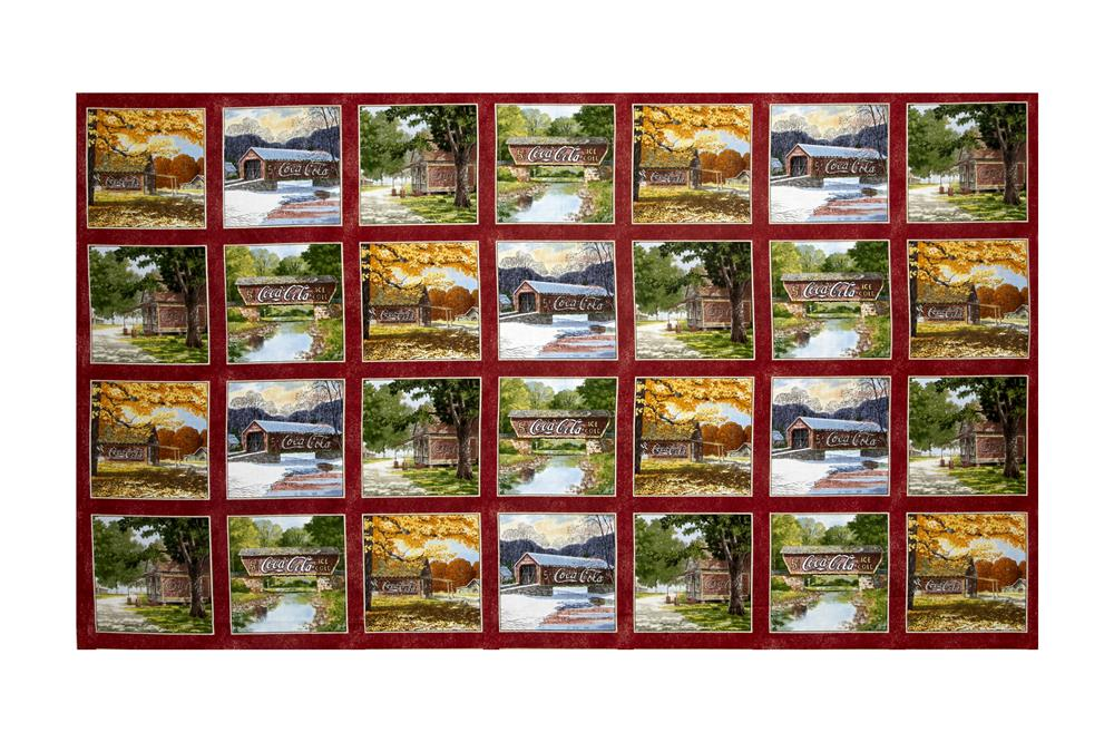 Coca-Cola Covered Bridges 24'' Patches Panel Multi Fabric