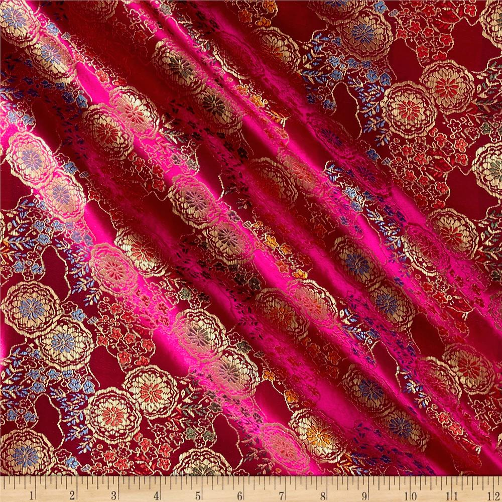 Chinese Brocade Medallions Fuchsia Gold