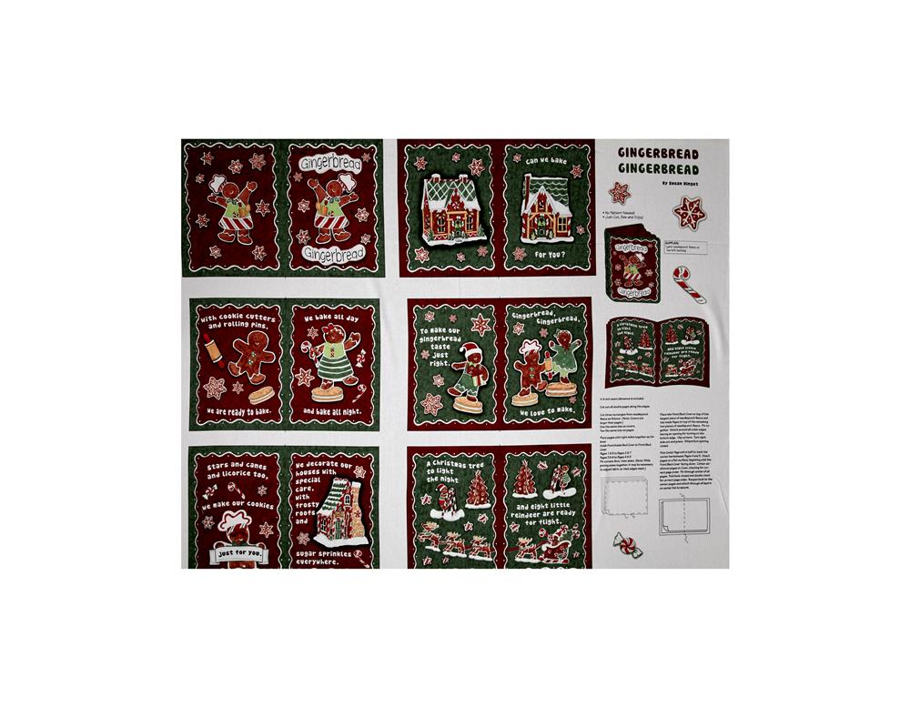 Susan Winget Gingerbread Soft Book 36 In. Panel Multi  Fabric By The Yard