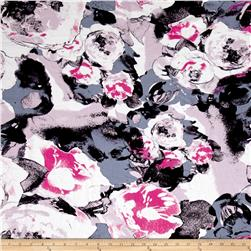 Designer Rayon Challis Abstract Floral Lilac/Black/Grey