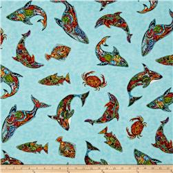 Kaufman Animal Spirits 2 Metallics Ocean Critters Modern Water