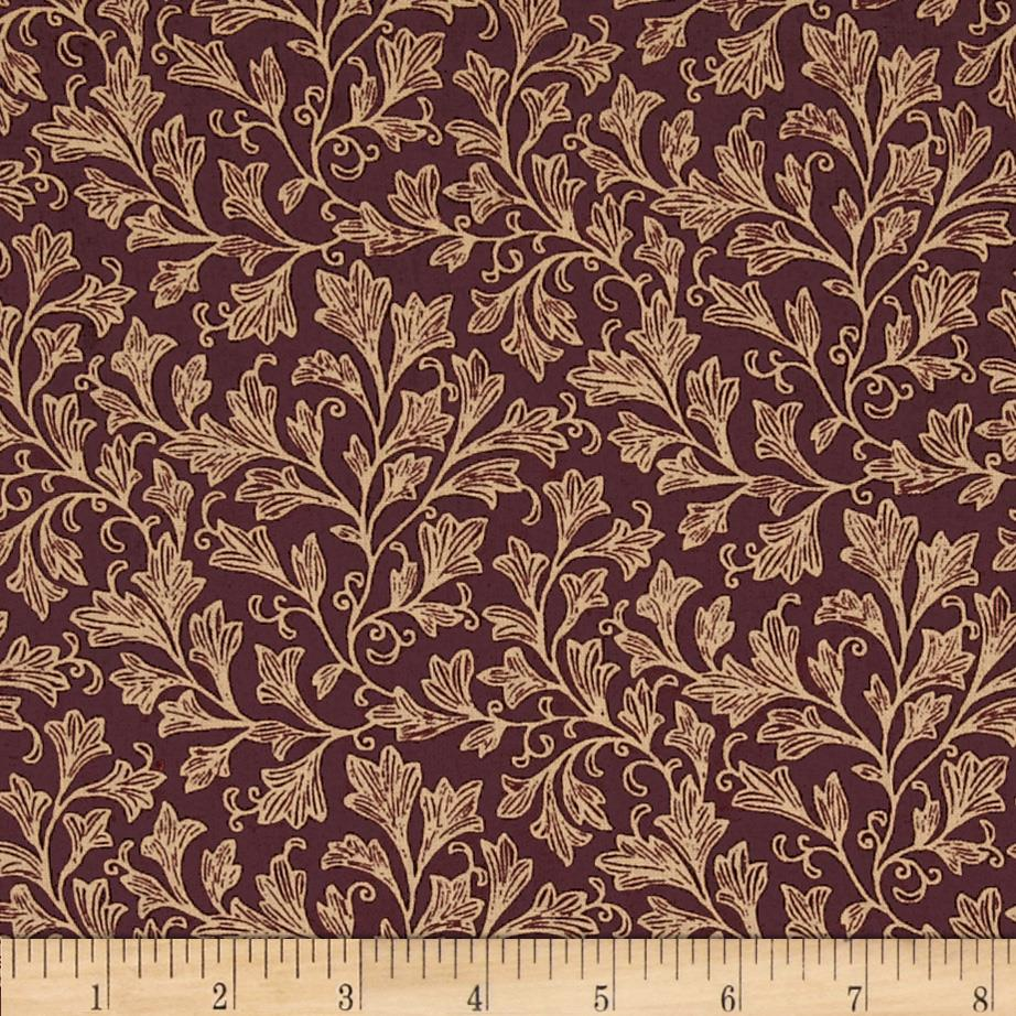 "108"" Wide Leafy Quilt Back Burgundy/Tan"