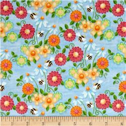 Birds n Bees Floral Blue