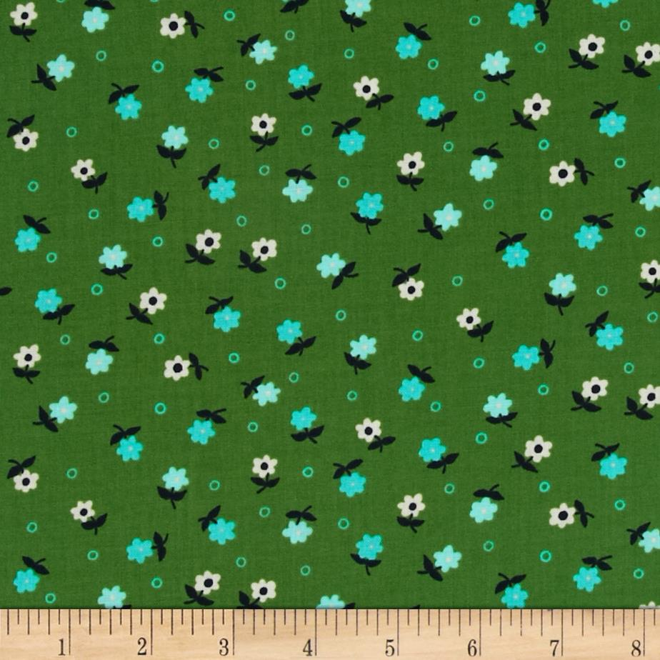 Cotton + Steel Cookie Book Mini Flowers Green