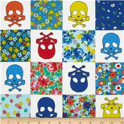 Kokka Skulls and Flowers White/Blue Fabric