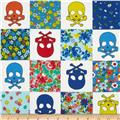 Kokka Skulls and Flowers White/Blue