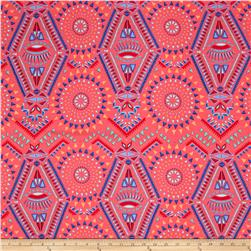 Rayon Challis Bright Aztec Coral