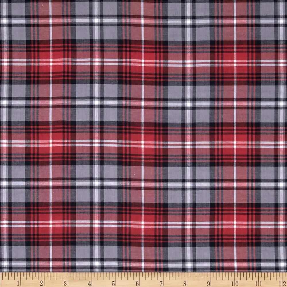 Yarn Dyed Cotton Shirting Plaid Red/White/Black