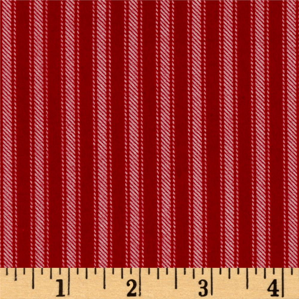 Newport Flannel Ticking Stripe Red Fabric By The Yard