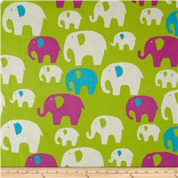 Kokka Trefle Linen Blend Canvas Elephants Lime