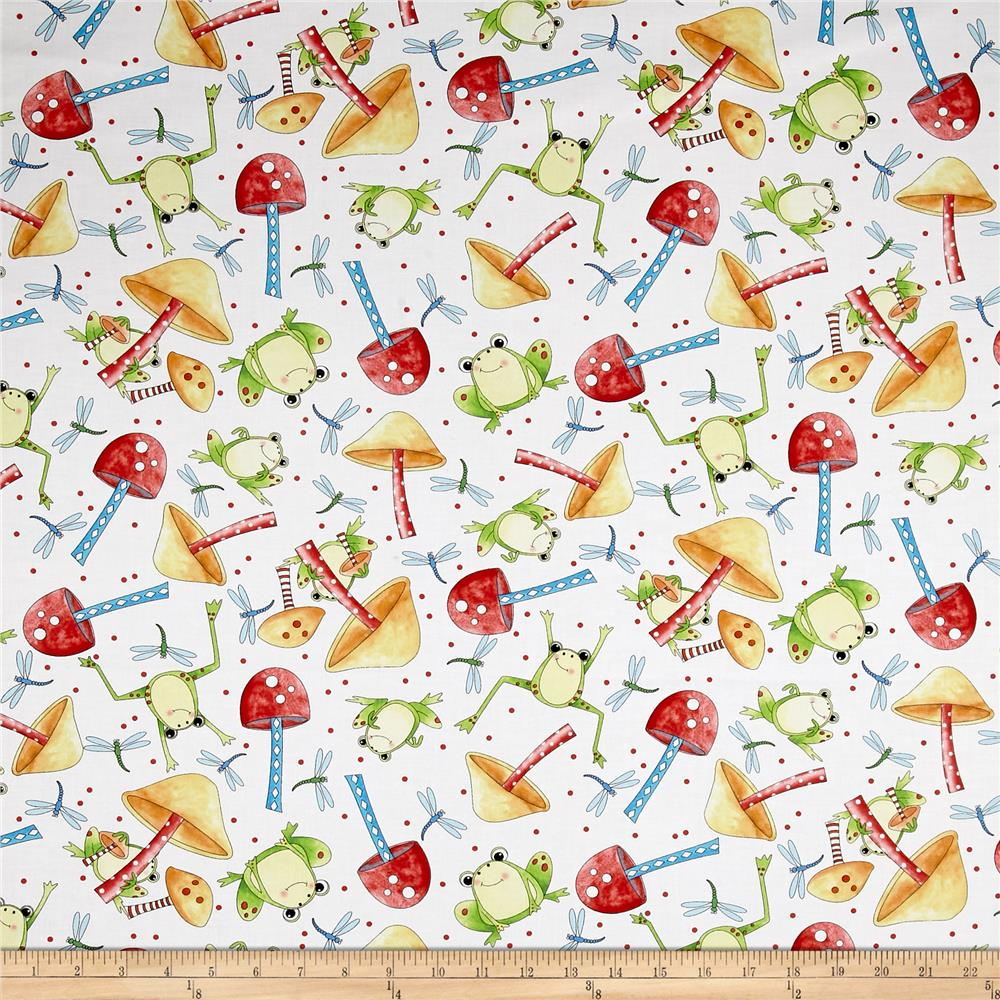 It's a Pond Party Frog & Mushroom Toss White Fabric