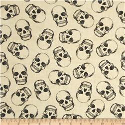 Timeless Treasures Mr. Bones Skulls Cream