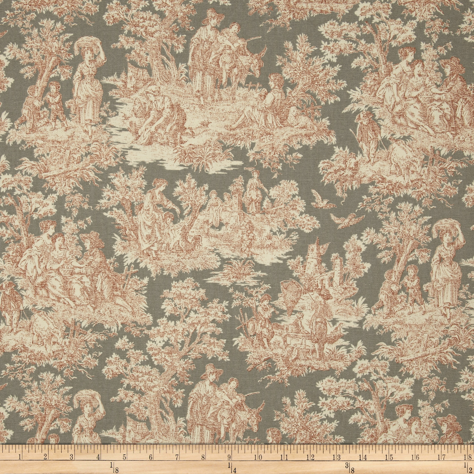 Waverly Rustic Life Toile Terracotta Fabric