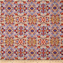 Picasso Rayon Poplin Paisley Lilac/Orange/Red/Cream