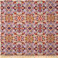Telio Picasso Rayon Poplin Paisley Lilac/Orange/Red/Cream